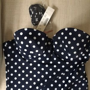 NWT J CREW NAVY POLKA DOT SIZE 2 swimsuit